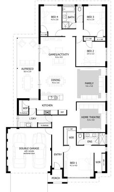 Browse our range of 4 Bedroom House Plans & Home Designs. 2 Bedroom House Design, Four Bedroom House Plans, Floor Plan 4 Bedroom, New House Plans, Modern House Plans, Small House Plans, House Floor Plans, The Plan, How To Plan