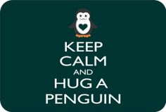 Keep Calm & Hug A Penguin Glass Cutting Board