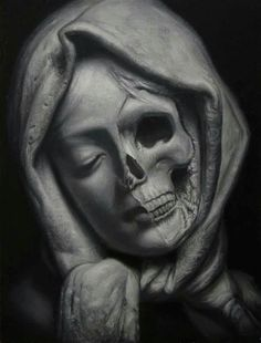 Dark art for sale direct from the artist. Vanitas (Study Of The Century Italian Sculpture) is an original Paintings by Marko Karadjinovic. Discover and buy thousands of Paintings dark surreal macabre gothic artwork for sale Dr Tattoo, Skull Girl Tattoo, Skull Tattoos, Sleeve Tattoos, Mini Tattoos, Angel Sculpture, Sculpture Art, Art Drawings Sketches, Tattoo Drawings