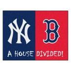 MLB Yankees/Red Sox House Divided Navy Blue 2 ft. 10 in. x 3 ft. 9 in. Accent Rug, Blue/Red