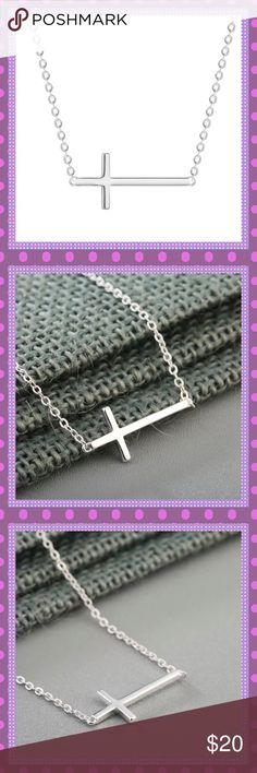 """😇Silver Side-Ways Cross Necklace😇 😇BEAUTIFUL Sterling Silver (stamped .925) Side Ways Cross Necklace, the perfect everyday accessory. Approx. 16"""" Long with 1 1/2"""" Extender, Cross is Approx. 1"""" Long X 1/2 Wide😇COMES IN JEWELRY BOX😇 Boutique Jewelry Necklaces"""