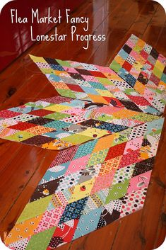 I had a request to show the progress on the FMF Lonestar very belated housewarming gift quilt.  I took a break for a while. I've now finish 4 1/4 of the 8 diamonds that make up the start.