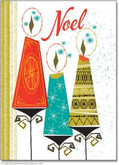 Mid Century Christmas Candles Cards will make your Christmas merry and bright with this 1960s style illustration of three holiday candles. 8 cards & envelopes $12.00 | Folded Card Size 4.5″x 6.25″