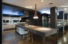 French Grey - Royal Oak Floors, installed as an island bench top at Abey Australia in South Melbourne by Minosa Design.