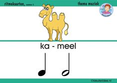 Ritmekaart voor kleuters 5 kameel, thema muziek, kleuteridee.nl, free download