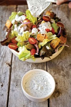 Red Leaf Salad with Yogurt Ranch Dressing