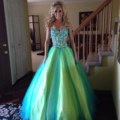 Green colored prom dress