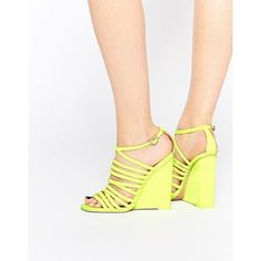 ASOS HEADLAND Caged Wedges (£23) ❤ liked on Polyvore featuring shoes, sandals, yellow, asos, wedge heel sandals, yellow sandals, caged shoes and strap shoes