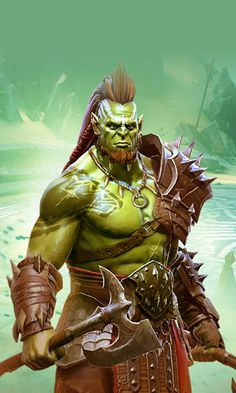 m Half Orc Barbarian Med Armor Battle Axe Wilderness Hills rough volcano Are you ready for battle med Fantasy Races, Fantasy Warrior, Fantasy Rpg, Fantasy Artwork, Dnd Characters, Fantasy Characters, Fantasy Inspiration, Character Inspiration, Fantasy Character Design
