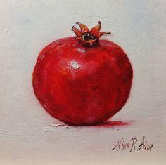 Pomegranate Original Oil Painting by Nina R Aide Studio #still life#kitchen art#fruit#pomegranate