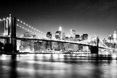 New York Black and White Brooklyn Bridge, Manhattan Skyline wallpaper wall mural…