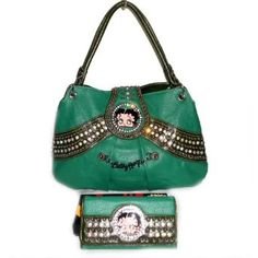 Betty Boop Emanel Green Metal Gorgeous Rhinestone L Wallet Satchel Bag Handbag Purse Set allofpurses - Betty Boop. $53.98