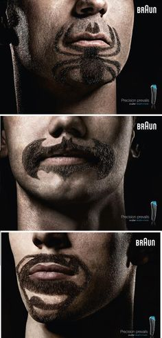 cruZer Advertisement : Superhero logos shaved into beard styles  Spiderman Batman and Superman