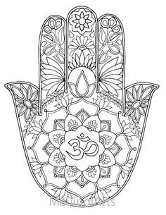 Hand Drawn Adult Coloring Page Print Hamsa Om by MauindiArts                                                                                                                                                                                 More