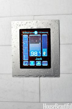 "Personalize shower time with this tablet-like, full-color digital touch screen. You can program up to nine separate ""scenarios."" A thermostatic valve regulates water temperatures from up to four outlets (say, one overhead, one standard, and two wall streams). The setup can also adjust lighting, and volume levels from an audio device. If you tend to linger in the shower, pre-set it for a certain length of time — and use the system to track your water consumption. Luxury Shower System, from…"