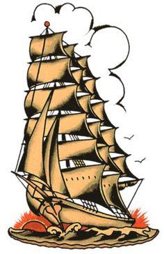 Tall Masts - Vulture Graffix.  - Printed T shirts from $9.35US plus postage. Sailor Jerry,Tattoo Flash   Vulture Graffix, Mail Order T Shirt, #Psychobilly #Rockabilly #ink #flash #tattoo #Vintage Tattoo Designs #TShirt #Sailor Jerry #Retro #Clothes