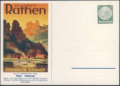Germany, German Empire, Deutsches Reich 1936, 6 Pfg.-GA-Privatpostkarte, Kurort Rathen/Sächsische Schweiz, ungebr. (Mi.-Nr.PP127F2). Price Estimate (8/2016): 15 EUR. Unsold.