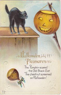 Halloween Pleasures 1910s Antique Postcard Pumpkin Scared