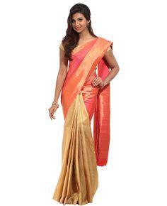 Dual tone kancheepuram silk partly saree