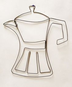 Coffee Pot Wire Sculpture by EleMcKay