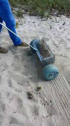 """The patent pending Sand Cleaning Tool not only will work on your beach area, it is excellent to groom and clean those sand Volleyball courts. 18"""" and 24"""" size, 18"""" shown. Will be available exclusively from CleanSand, Inc. along with their mechanical beach cleaners from the Barracuda walk behind to the Heavy Duty tractor attached models. Volleyball Court Backyard, Sand Volleyball Court, Backyard Play, Backyard Ideas, Old Forge, Clean Beach, Cleaning Equipment, Patent Pending, Yard Design"""
