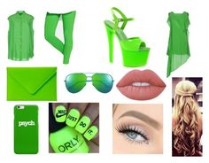 """""""Day and Night 34-Green"""" by marianaraposo on Polyvore featuring Acne Studios, Hue, Pleaser, Under Cover, Yves Saint Laurent, NIKE and Lime Crime"""