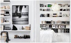 ¿Poco espacio en casa? Porque no montar una estantería de pared a pared y sacarle mucho partido.