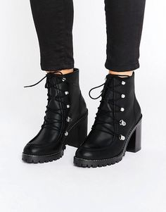 ASOS EISHA Leather Hiker Boots | Lace up ankle boots