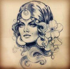 Grey And Black Gypsy Girl Tattoo : Gypsy Tattoos Tattoo Girls, Gypsy Girl Tattoos, Kunst Tattoos, Tattoo Drawings, Tattoo Gitana, Trendy Tattoos, Cool Tattoos, Gypsy Tattoo Sleeve, Arte Lowrider