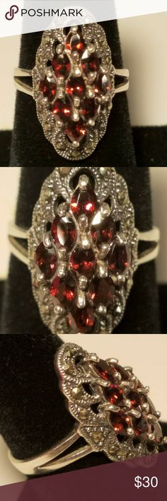 VINTAGE STERLING RED GEMSTONE COCKTAIL RING SIZE 8 Beautiful vintage sterling silver black mercasite and red gemstone cocktail ring size 8. MARKED 925 This is a gorgeous  ring for any occasion. Check out the pics for best description. Jewelry Rings