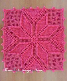 Star Popcorn Great creative preparation, # crochet blanket … - Diy And Craft Crochet Pillow Cases, Crochet Cushion Cover, Crochet Bedspread, Crochet Cushions, Crochet Quilt, Crochet Granny, Crochet Square Patterns, Crochet Motifs, Crochet Squares