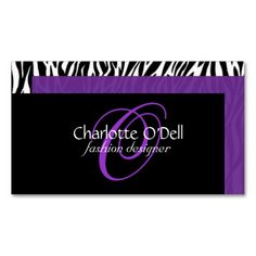 zebra print monogram business card. I love this design! It is available for customization or ready to buy as is. All you need is to add your business info to this template then place the order. It will ship within 24 hours. Just click the image to make your own!