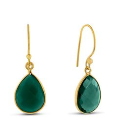 Take a look at this Green Onyx & Gold Teardrop Earrings on zulily today!
