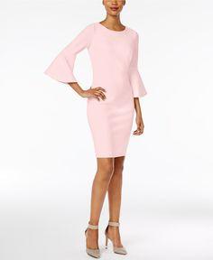 Calvin Klein Bell-Sleeve Sheath Dress - Dresses - Women - Macy's