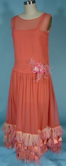 c. 1920's Coral Silk Crepe Chiffon Party Dress with Silk Ribbon Tabs and Matching Ostrich Feather Trim
