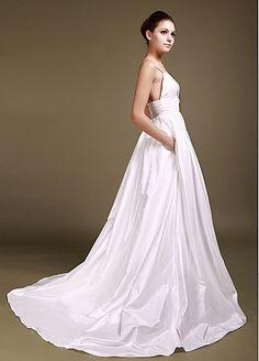 Wonderful Taffeta Tulle A Line Sweetheart With Spaghetti Straps Empire Waist Wedding Gown Dress PocketsWedding