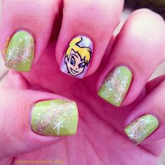 Tinker Bell and pixie dust nails!!!!  <3