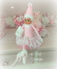 Pretty in Pink Elf girl with bling <3 Mel Watkins vintage pink elves Pink knee hugger Pink Christmas
