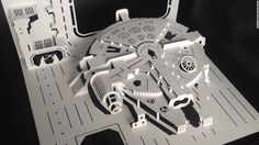 """Amazing """"Star Wars"""" paper-cut art by Marc Hagan-Guirey using an X-ACTO knife, a metal ruler, and a cutting mat."""