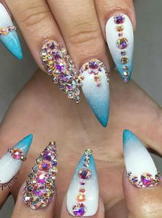 Rhinestone blue nails nailart design @coatednailz