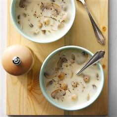 Quick Cream of Mushroom Soup Recipe -My daughter-in-law, a gourmet cook, served this soup as the first course for a holiday dinner. She received the recipe from her mom and graciously shared it with me. Now I'm happy to share it with my own friends and family. —Anne Kulick, Phillipsburg, New Jersey