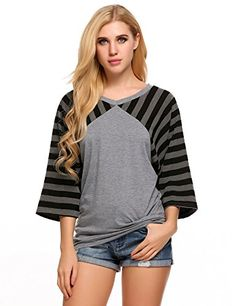 077aa610bf24 Zeagoo Womens Oversize 3 4 Sleeve Top Striped Loose Round Neck Shirt Tee  Gray Small
