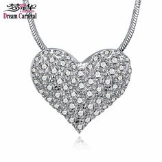 DreamCarnival 1989 Good Price Rhodium White Crystal Heart Pendant Necklace for Women Drop Ship Jewelry Moda Mulheres Collana  Price: 0.55 USD