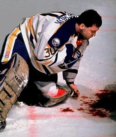 Clint Malarchuk, Buffalo Sabres goalie on March 22, 1989 after taking a skate to the Carotid Artery. He survived.