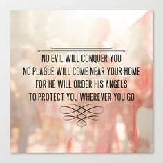 Psalm 91:10-11 Angel Guard Stretched Canvas by Pocket Fuel - $85.00