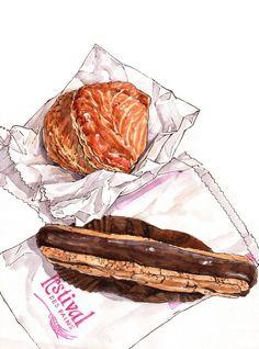 Illustrated food art Dessert Illustration, Pinterest Instagram, Food Cartoon, Watercolor Food, Food Log, Pastry Art, Fake Food, Food Drawing, Dessert Drinks