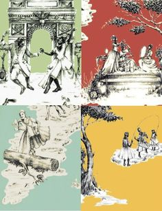 Can't wait to use this wallpaper .Top Modern Takes on Toile: From Afro-French to Gritty London by Jeanine Hays on Sheila Bridges Harlem Toile Wallpaper. French Wallpaper, Toile Wallpaper, Pattern Wallpaper, Chinoiserie, Harlem, Used Vinyl, Oui Oui, Hgtv, Architecture Art