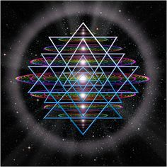The symbol known as the Sri Yantra is an ancient Hindu symbol comprised of nine triangles that are interlaced in such a way as to form 43 smaller triangles in a web said to be symbolic of the entire cosmos. The Sri Yantra also represents a very specific perspective on a 64 tetrahedron grid if viewed from down one of it's points. The 64 tetrahedron grid is also the foundational seed geometry of the fabric of the vacuum according to Nassim Haramein's unified field theory.