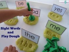 Hands-on sight word activities are a motivating way to help children learn how to read common sight words. Making Sight Words in Play Dough with letter stampers creates a fun canvas to promote sight word recognition or. Kindergarten Centers, Preschool Literacy, Early Literacy, Kindergarten Reading, Kindergarten Sight Words, Literacy Games, Hands On Learning Kindergarten, Literacy Year 1, Kindergarten Phonics