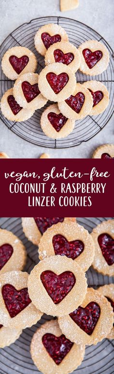 #vegan, #glutenfree #oilfree coconut & raspberry linzer #cookies / Perfect for #valentines day or a lovely gift / Goodness is Gorgeous
